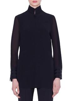 Akris Slit-Sleeve Silk Voile Tunic