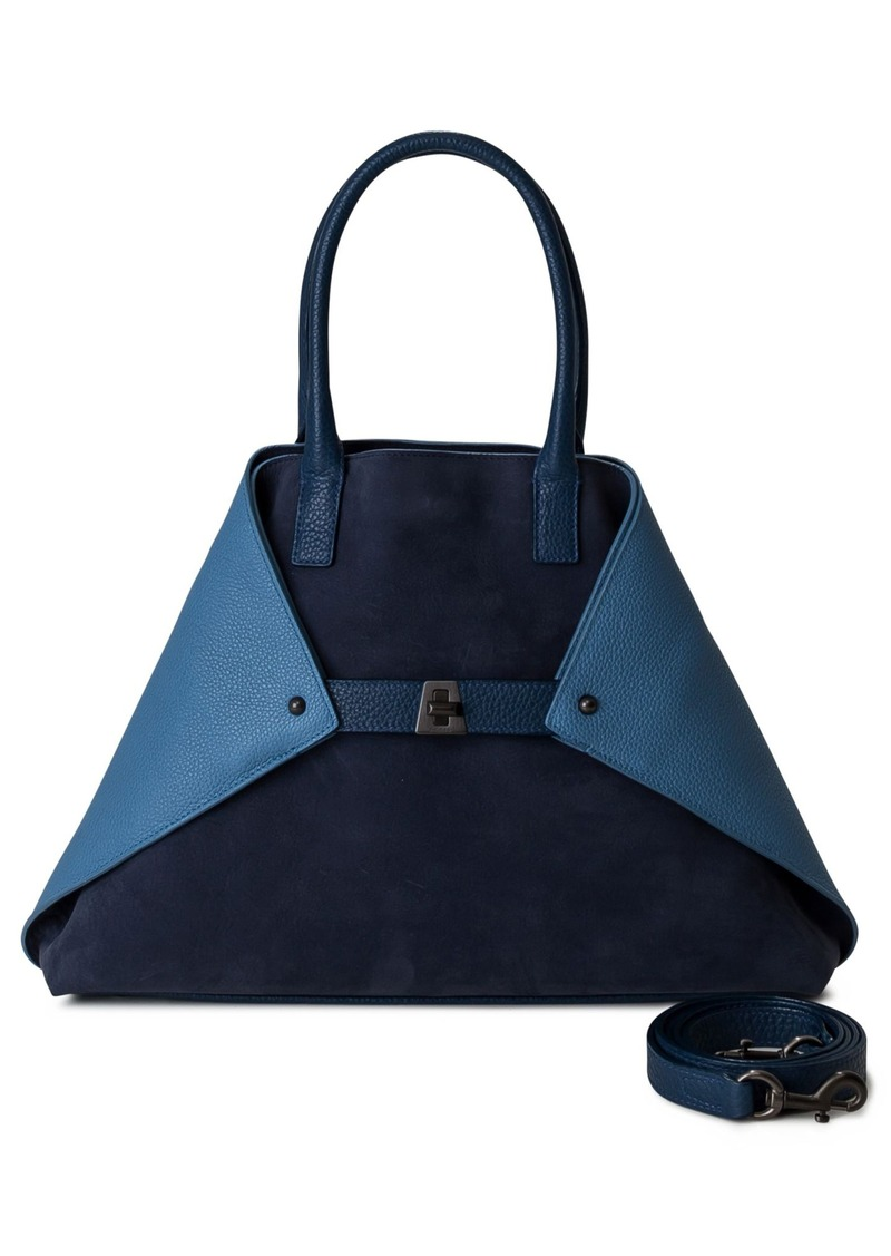 Akris Small AI Bicolor Nubuck & Leather Tote