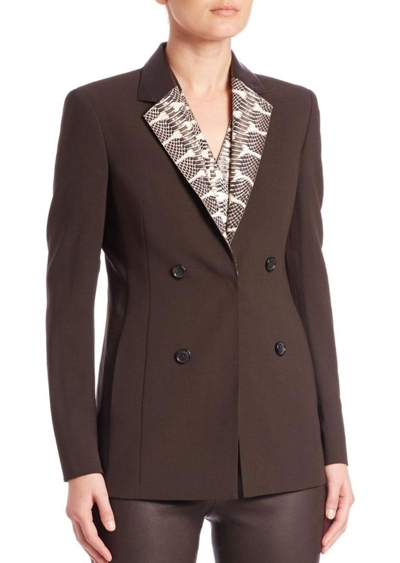 Akris Snakeskin & Leather Collar Wool Jacket