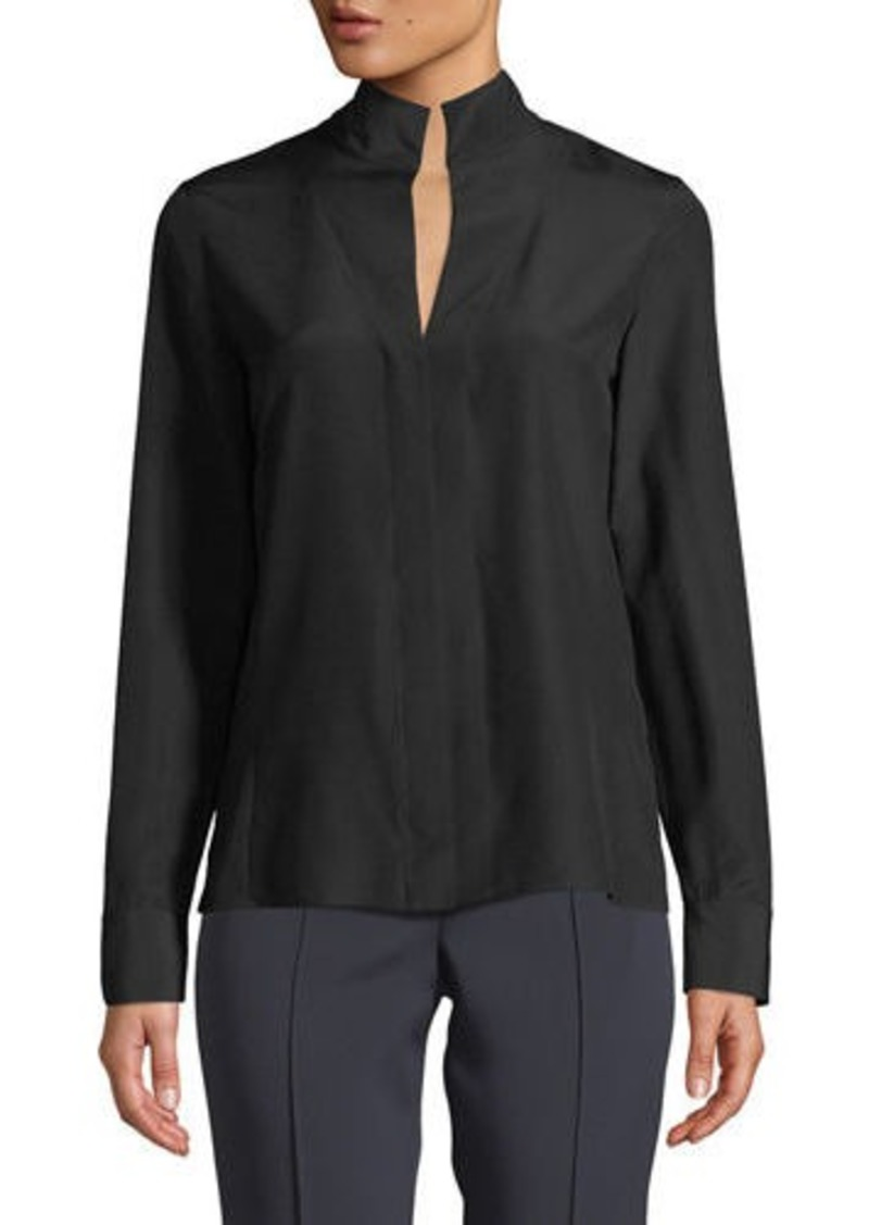 Akris Split-Neck Silk Button-Front Blouse