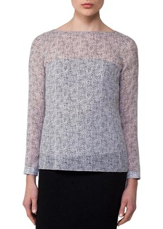 Akris Spotted Silk Layered Boat-Neck Blouse