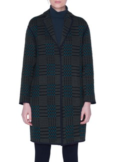 Akris St. Gallen Embroidered Plaid Coat