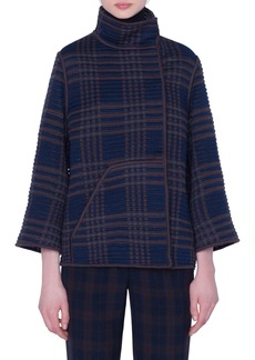 Akris St. Gallen Embroidered Plaid Jacket
