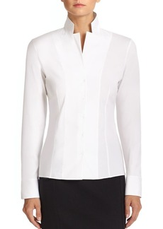 Akris Stand Collar Poplin Blouse