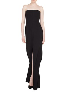 Akris Strapless Front-Slit Wool Evening Gown
