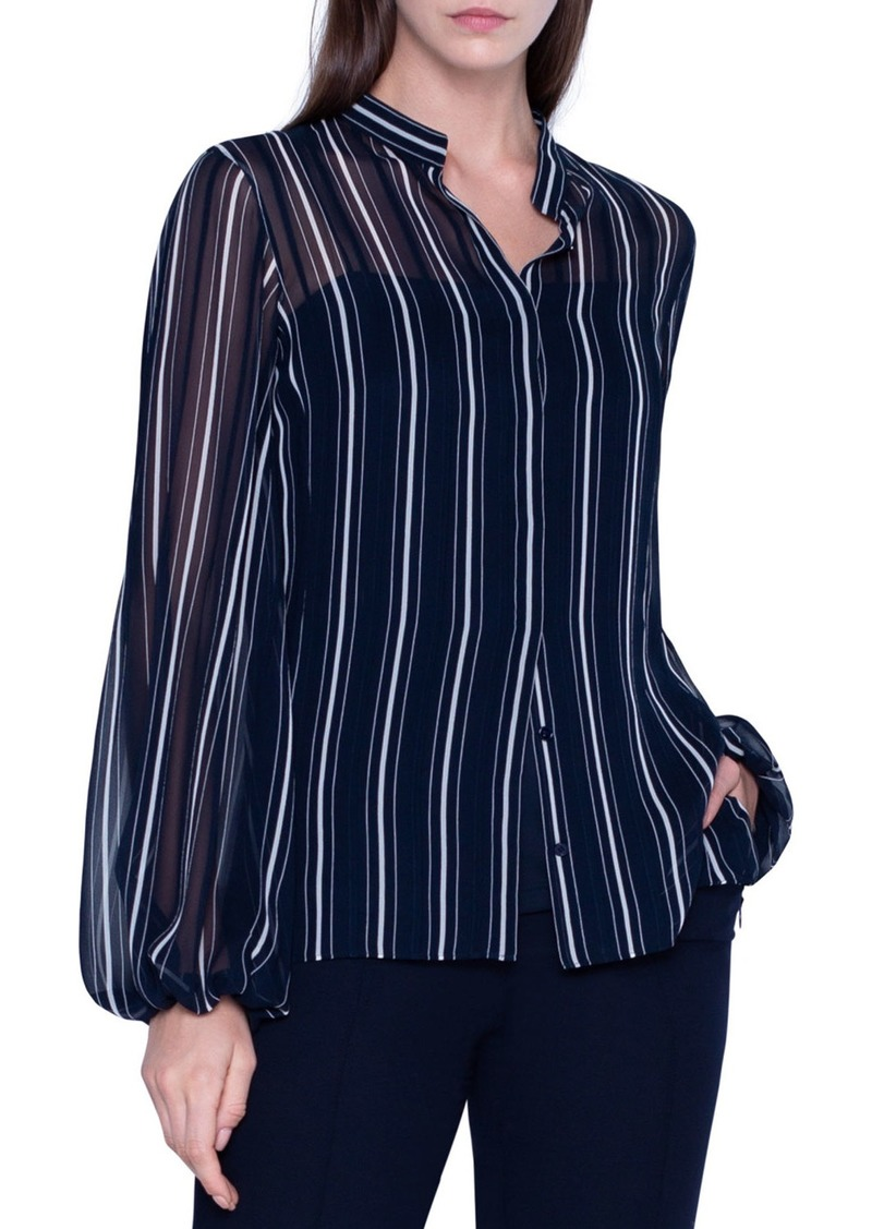 Akris Striped Sheer Silk Button-Front Blouse