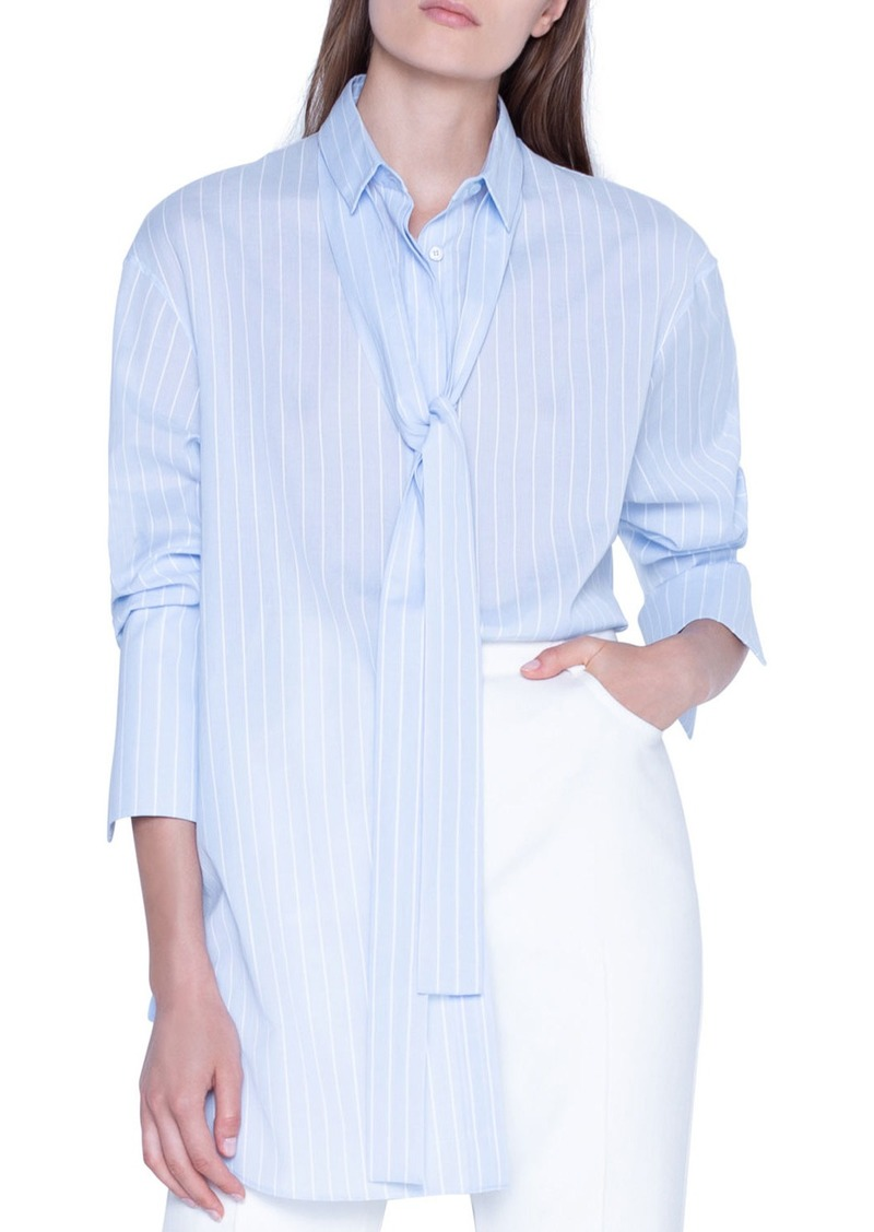 Akris Striped Tie-Neck Oversized Shirt