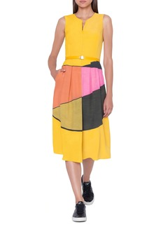 Akris Sunrise Print Belted Silk Dress