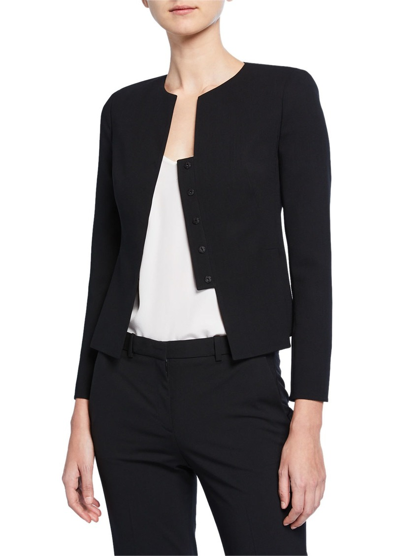 Akris Tabbed Button-Front Short Wool Jacket
