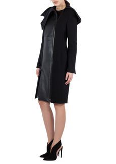 Akris Textured Wool & Lamb Leather Coat