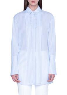 Akris Tie Neck Stripe Cotton Voile Tunic