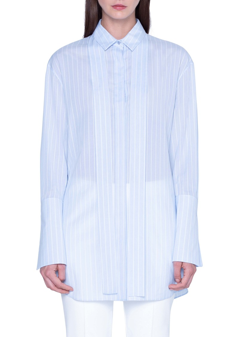 Akris Tie Neck Stripe Cotton Voile Tunic
