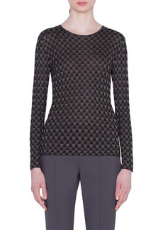 Akris Trapezoid Jacquard Silk Sweater