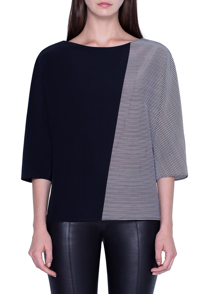 Akris Trapezoid-Striped Silk Crepe Tunic Top