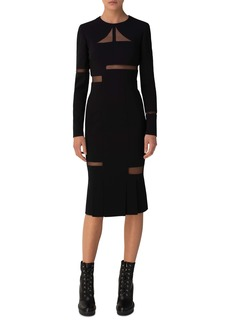 Akris Tulle Cutout Long Sleeve Double Face Wool Blend Midi Sheath Dress