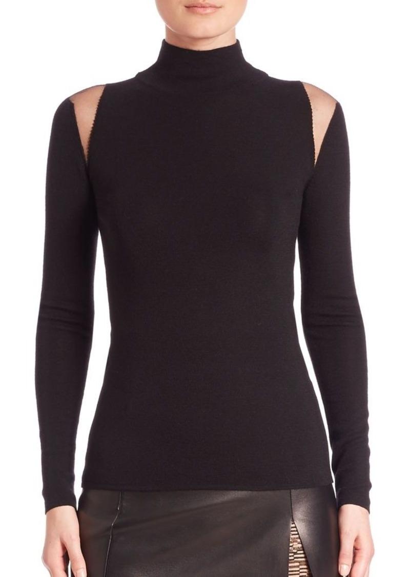 Akris Tulle Shoulder Knit Pullover