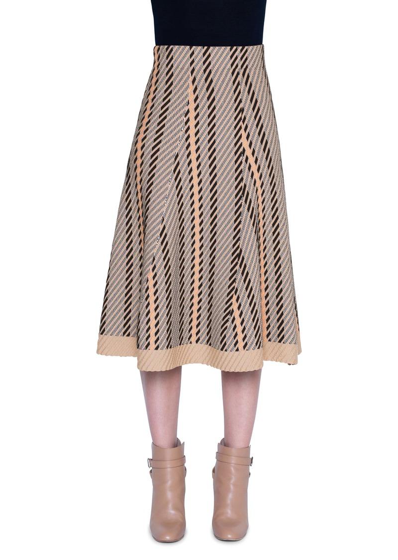Akris Tweed Jacquard A-Line Midi Skirt