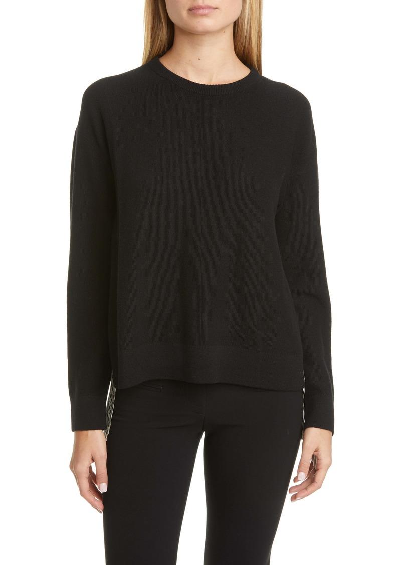 Akris Tweed Jacquard Print Back Cashmere Sweater
