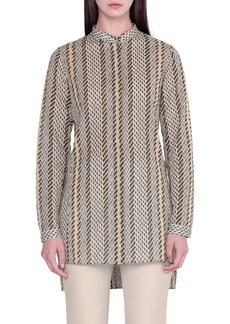 Akris Tweed Print High/Low Wool Tunic