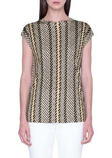 Akris Tweed Print Silk Tunic
