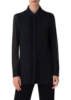 Akris Twist Pleat Silk Shirt
