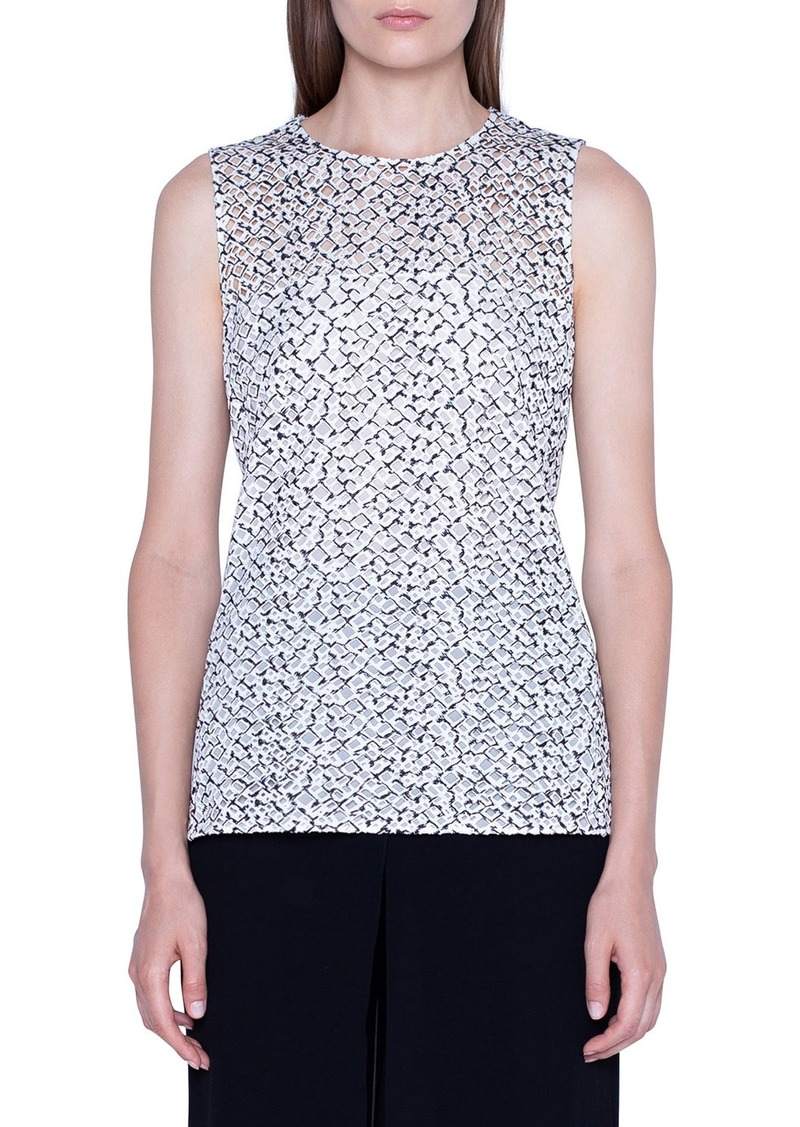 Akris Two-Tone Embroidered Illusion Blouse