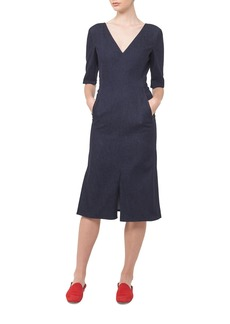 Akris V-Neck Denim A-Line Dress