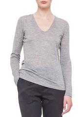 Akris V-Neck Long-Sleeve Jersey Top