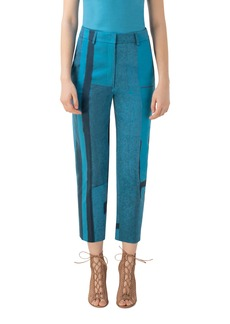 Akris Window Print Stretch Gabardine Straight Leg Pants
