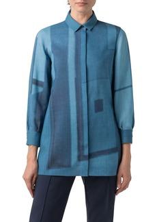Akris Window Print Wool Mousseline Shirt