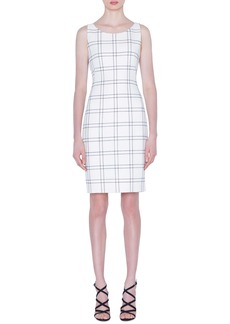 Akris Windowpane Double Face Crepe Sheath Dress