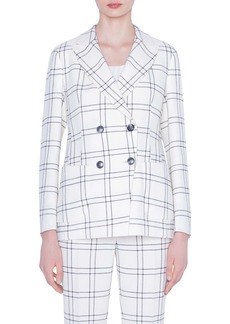 Akris Windowpane Plaid Double Breasted Crepe Jacket