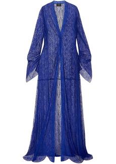 Akris Woman Draped Lace Coat Cobalt Blue