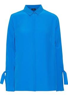 Akris Woman Knotted Washed-silk Shirt Azure