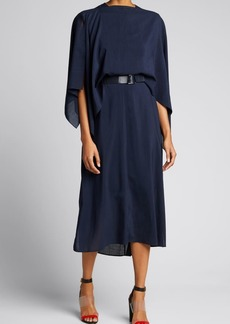 Akris Wool Crepe Sleeveless Dress with Removable Cape
