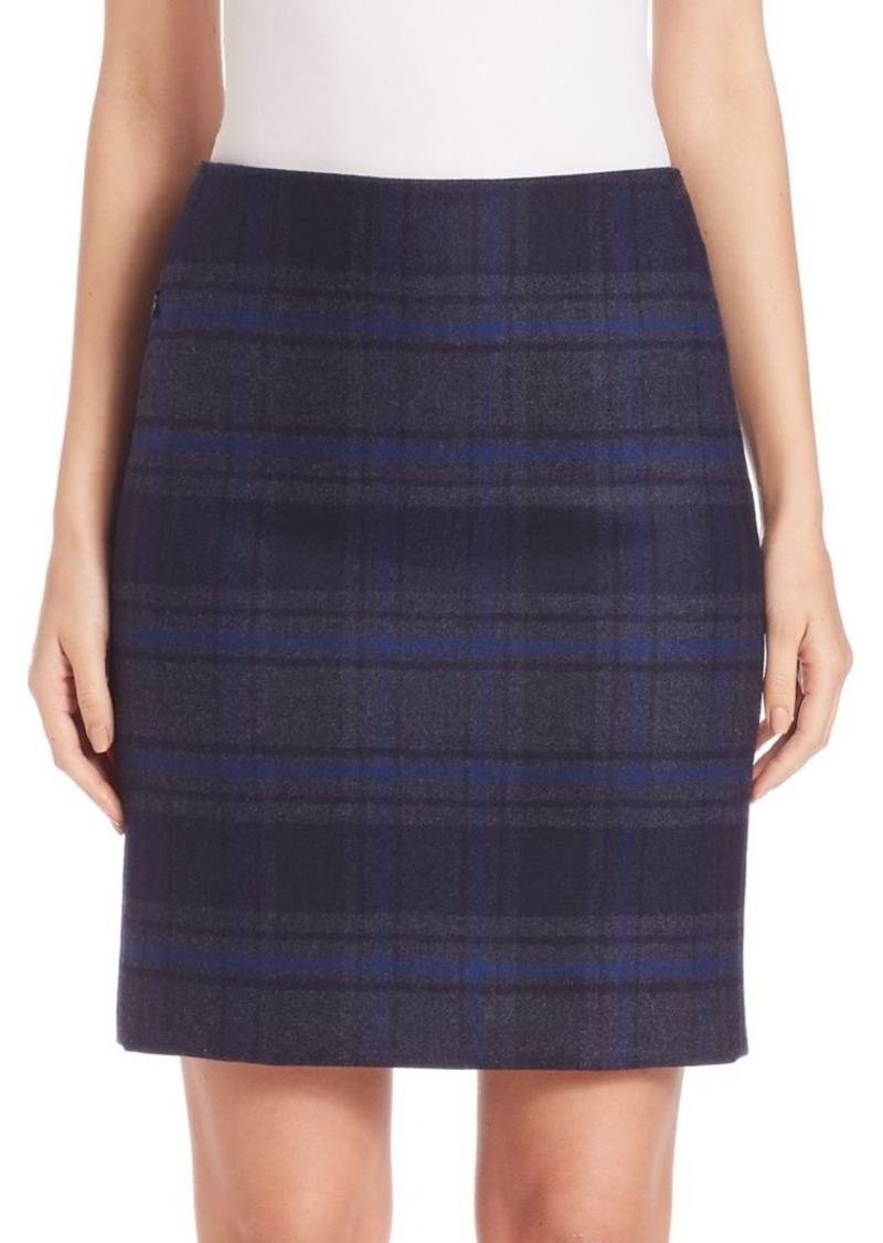 Akris Wool Double-Face Plaid Pencil Skirt