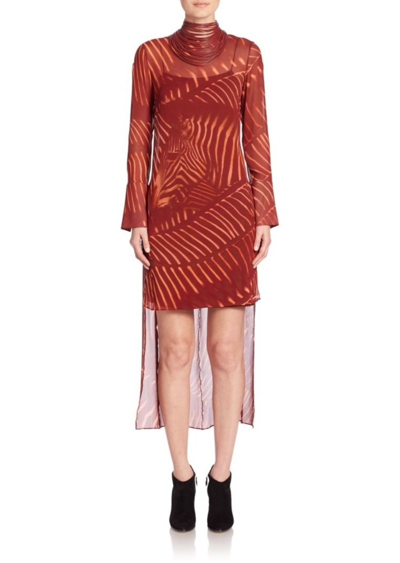 Akris Zebra Print Masai Collar Silk Dress