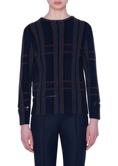Akris Zip Detail Plaid Jacquard Cashmere & Silk Sweater