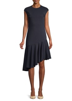 Akris Asymmetric Drop-Hem Flare Dress