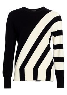 Akris Asymmetric Intarsia Knit Cashmere Sweater