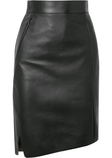 Akris Asymmetric Leather Skirt