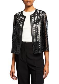 Akris Audrey Laser Cut Leather Jacket