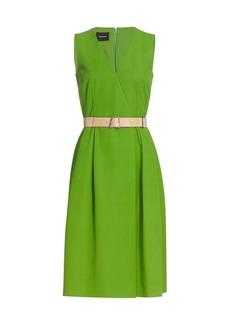 Akris Belted Cotton Midi Dress