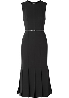 Akris Belted fluted wool-blend dress