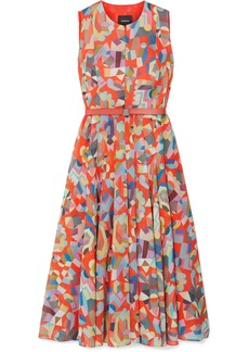 Akris Belted Printed Cotton Midi Dress