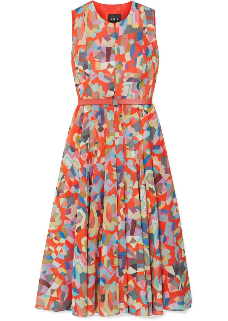 Akris Belted Printed Cotton Midi Dress