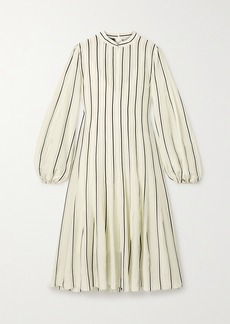Akris Belted Striped Mulberry Silk Crepe De Chine Dress