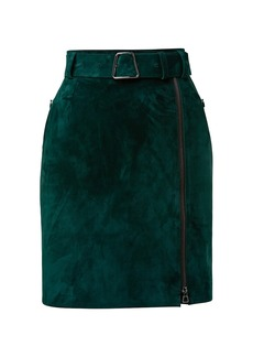 Akris Belted Suede Zip Skirt