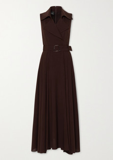Akris Belted Wool-crepe Maxi Dress