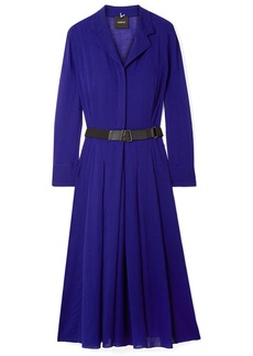 Akris Belted Wool-voile Midi Dress